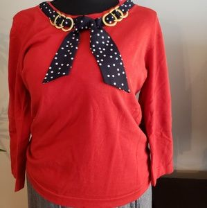 August Silk red knit w/polka dot